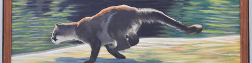 Cropped picture of Painting of Lynx running by Clint Crowell